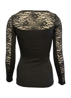 Amazon.com: MonsterCloset Long Sleeve Top w/ Lace Insert On Sleeves and Back: Clothing