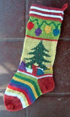 Mix-It-Up Christmas Stocking Intarsia Knitting pattern by Terry Morris Love Knitting, Intarsia Knitting, Intarsia Patterns, Knit Patterns, Hand Knitting, Knitting Basics, Wood Patterns, Knitted Christmas Stocking Patterns, Unique Christmas Stockings