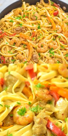 This delicious Cajun Chicken and Shrimp Pasta makes an easy, quick and filling dinner for the whole family. The smoky Cajun spice and the creamy Parmesan sauce create an unforgettable combination! pasta cajun Chicken and Shrimp Pasta Prawn Pasta, Chicken And Shrimp Recipes, Easy Pasta Recipes, Healthy Chicken Recipes, Easy Dinner Recipes, Seafood Recipes, Dinner Ideas, Cajun Pasta Recipe, Cajun Shrimp Pasta