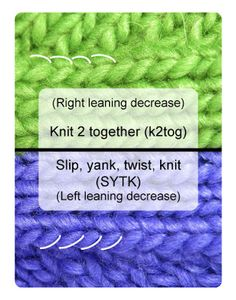 SYTK, a left-leaning decreases: slip, yank, twist, knit