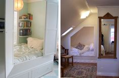 An alcove bed or bedstee in Dutch. I really like the one on the left.