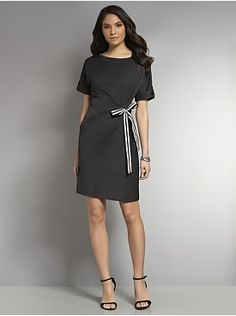 Side-Tie Solid Shirt Dress from New York & Company
