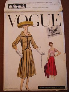 VINTAGE 1956 VOGUE COUTURIER DESIGN  # 920 SUIT AND BLOUSE PATTERN  * SIZE 12
