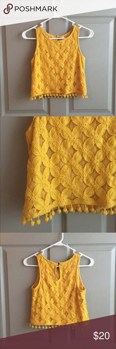 Yellow Crochet Tank cropped tank with pom poms Tops Tank Tops
