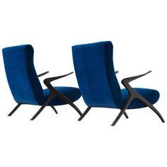 Set of Two Italian Easy Chairs in Cobalt Blue Velvet Upholstery ca.1950's