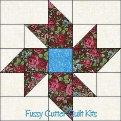 Scrappy Fabric Pinwheel Flowers Floral Easy Pre-Cut Quilt Blocks Top Kit