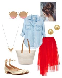 """""""Denim Shirt & Red Tulle Skirt"""" by carolyn-robillard on Polyvore featuring MSGM, Rails, Valentino, Louis Vuitton, Chico's and Bloomingdale's"""