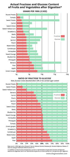 fructose malabsorption graph - content of fructose and glucose in foods
