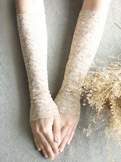 Nude skin lace gloves bridal gloves by MySecretFace on Etsy, $23.50
