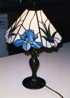 Iris Lamp by Diana Lee Rudolf Stained Glass #StainedGlassLamps