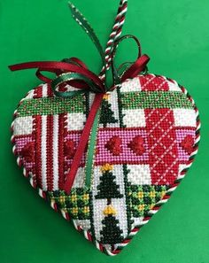 Christmas mini ribbon heart needlepoint, designer unknown