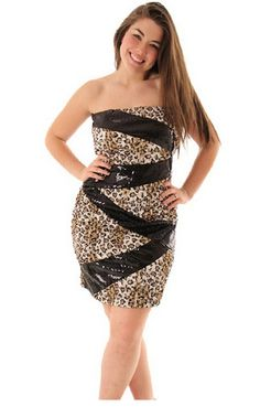 45010e0cce Leopard Print Strapless Sleeveless Backless Short Sexy Plus Size Dress Plus  Size Cocktail Dresses
