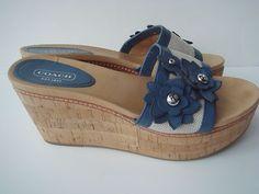 Nib Coach Sandals Blue Leather Canvas Cork Heel Wedge 6 Jesaca