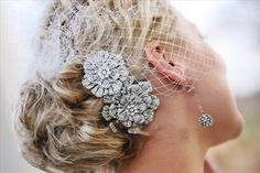 birdcage veil with hair comb