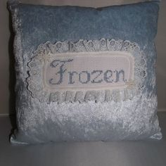 Great for kids who love the movie! Cross-stitch design on crushed velvet. from our Etsy shop. Ice Blue Color, Colour, Frozen Movie, Crushed Velvet, Cross Stitch Designs, Crossstitch, Kids Gifts, Cushion, Card Holder