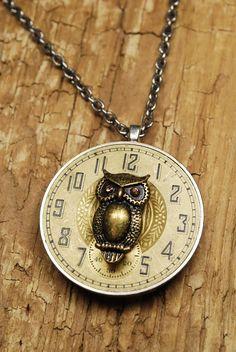 Vintage Elgin Pocket Watch Movement Reversible Necklace - Owl