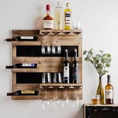 Stylish Rustic Wooden Hanging Wine Rack Design Ideas - Page 27 of 43 - Abantiades Decor Bar Shelves, Wine Shelves, Wine Storage, Glass Shelves, Storage Ideas, Storage Rack, Crate Shelves, Record Storage, Hanging Wine Rack