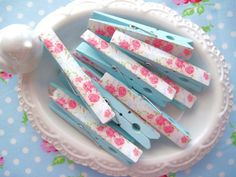 Shabby Chic Floral Clothespins/in the dollar section at MICHAEL'S as we Speak!