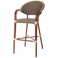 Aluminum Bamboo Outdoor Bar Stool With Woven Seat U0026 Back