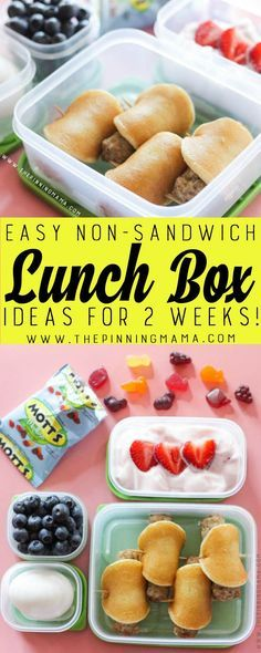 Kids Meals Breakfast for Lunch - Lunch box idea - Just one of 2 weeks worth of non-sandwich school lunch ideas that are fun, healthy, and easy to make! Grab your lunch bag or bento box and get started! Non Sandwich Lunches, Lunch Snacks, Sandwich Box, Kid Snacks, Snack Box, Kids Lunch For School, Healthy School Lunches, Cold Lunch Ideas For Kids, Bento Box Lunch For Kids