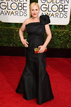 Patricia Arquette arrives at the annual Golden Globe Awards at the Beverly Hilton Hotel in Beverly Hills, Calif., on Jan. Patricia Arquette, Golden Globe Award, Golden Globes, Beverly Hills, Open Dress, Strapless Dress Formal, Formal Dresses, Red Carpet Event, Red Carpet Looks