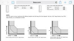 Ikea PAX corner unit measurements
