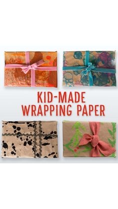 DIY WRAPPING PAPER:  We show you fun painting techniques to transform kraft paper into holiday gift wrap that kids can make!  Add a personal, kid-made touch to your Christmas gift wrap! #christmascraft #holidaycraft #wrappingpaper #christmaswrappingpaper #kidcraft #craftsforkids #giftwrap #diygiftwrap #christmaspresents
