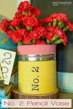 DIY Back To School Craft + Pencil Vase Craft Ideas – This No. 2 Pencil vase is perfect for a back-to-school gift or classroom decor. Back To School Party, Back To School Crafts, School Decorations, School Themes, September Decorations, Tin Can Crafts, Crafts For Kids, Diy Crafts, Teacher Appreciation Gifts