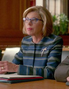 Diane's blue striped jacket on The Good Wife.  Outfit Details: https://wornontv.net/52370/ #TheGoodWife