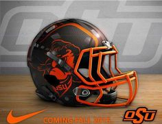 """Sickest Helmets in the game. New Nfl Helmets, College Football Helmets, Sport Football, Football Stuff, Oklahoma State University, Oklahoma State Cowboys, Go Pokes, Cowboy Love, Hard Hats"