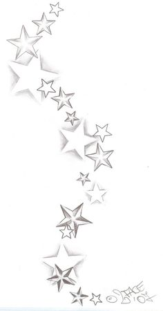 """This what you should do """"random"""" star designs with swirls, color and line work added"""
