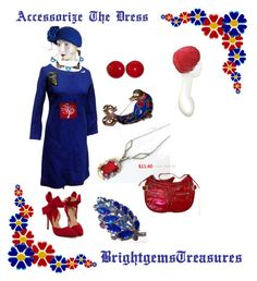 """""""Accessorize with Brooches"""" by brightgemsu on Polyvore featuring Retrò, vintage, women's clothing, women, female, woman, misses and juniors"""
