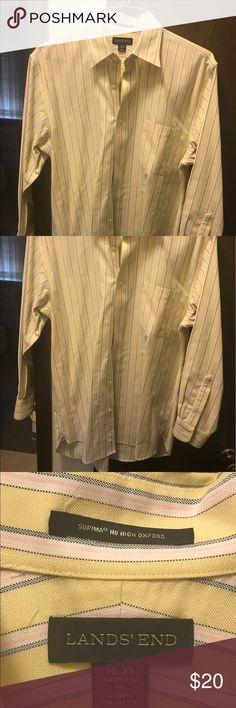 Lands End men's long sleeve shirt Never worn ready to wear fresh from cleaners.  Yellow/Pink/Lt.blue striped. Lands' End Shirts Dress Shirts