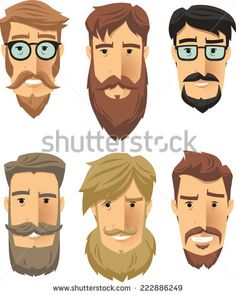 Hipster subculture, beard movement. Vector illustration cartoon. - stock vector