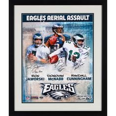 "Donovan Mcnabb, Randall Cunningham, and Ron Jaworski Philadelphia Eagles Framed Autographed 16"" x 20"" Collage Photograph with Multiple Inscriptions-Limited Edition of 50"