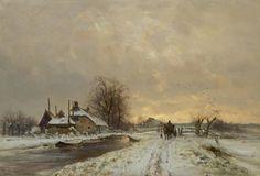 Louis Apol – Boer met paard en wagen in winters landschap