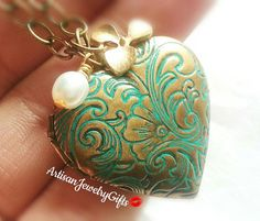 Floral patina heart locket gold orchid pearl necklace