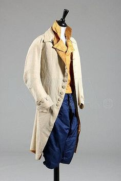 Gentleman's outfit consisting of coat (silk lined with silk and linen, c. 1780-90), waistcoat (silk with mother of pearl buttons, c. 1790) and breeches (silk, 1760s-70s).
