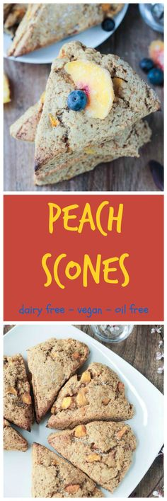 Dairy Free Peach Scones - crunchy on the outside, soft and light on the inside, and full of sweet peaches. Perfect for breakfast, snack or even dessert.