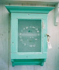 tGreen sea glass wall cupboard