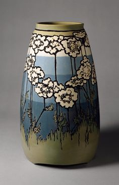 1915 Earthenware vase by Paul Revere Pottery (1908–1942), Decorator: Sara Galner (1894–1982).The Paul Revere Pottery was established to provide an income to young immigrant women through the creation of dynamic pottery.