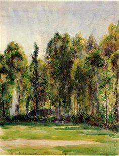 Camille Pissarro, Landscape, watercolor on paper, 1890, Private Collection