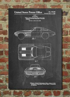 Corvette Stingray Patent Art Print, Patent Art, Blueprint, Patent Print, PatentPrints