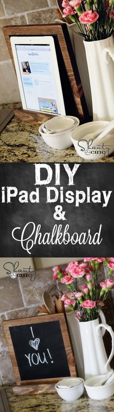 iPad Display that doubles as a chalkboard... Love it! #DIY