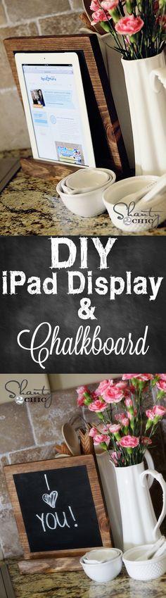 iPad Display that doubles as a chalkboard... Love it! #DIY