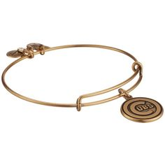 Alex and Ani MLB Chicago Cubs Charm Bangle (Rafaelian Gold Finish)... ($32) ❤ liked on Polyvore featuring jewelry, bracelets, bracelets bangle, hinged bracelet, hinged bangle, alex and ani charms and white bangle bracelet