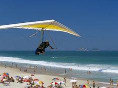 Hang-Glider Landing on Pepino Beach, Rio De Janeiro, Brazil, South America