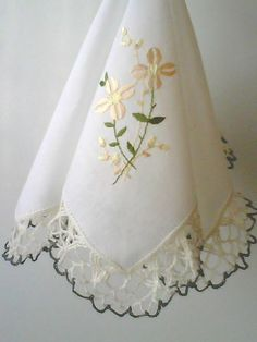 Handkerchief handmade crochet lace and by sincreartDesign on Etsy