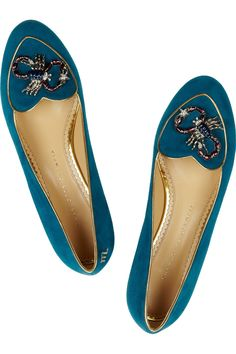 Charlotte Olympia|Scorpio suede slippers|NET-A-PORTER.COM