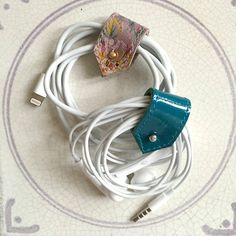 Leather Earphone Cords and Cable Tidy Organisers by ByLawLondon